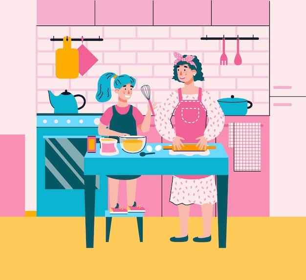 Mãe ensinando a filha a cozinhar na cozinha