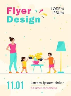Mãe ensinando crianças a cuidar de plantas caseiras, modelo de folheto