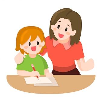Mãe, ensinando, dela, crianças, ilustração