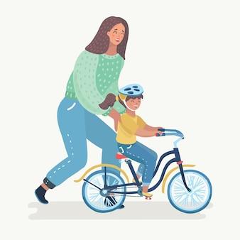 Mãe ensinando menina a andar de bicicleta