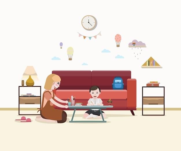 Mãe, ensinando, menino, com, dever casa, após, escola