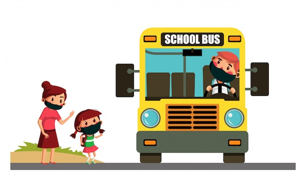 Mãe envia a filha para ir à escola de ônibus escolar