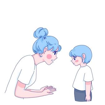 Mãe fala sério com ilustração de desenho animado de personagem de filha.