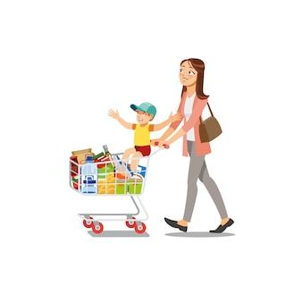 Mãe fazendo compras com vetor de desenhos animados de filho
