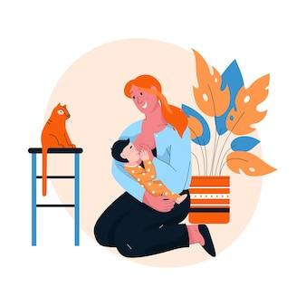 Mãe feliz amamentando seu bebê em casa