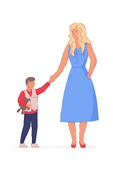 Mãe feliz andando com o filho em branco