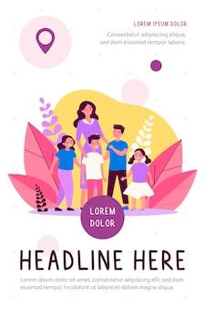 Mãe feliz andando com vários filhos ilustração plana