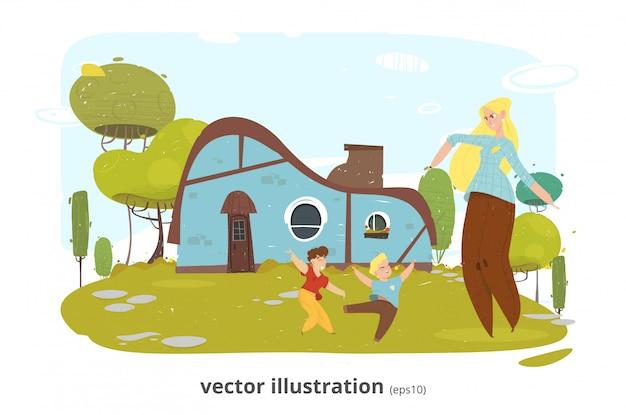 Mãe feliz descanso com crianças no quintal dos desenhos animados