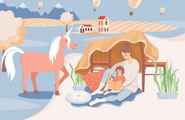 Mãe feliz e sorridente lendo um livro para a filha antes de ir dormir ilustração plana.