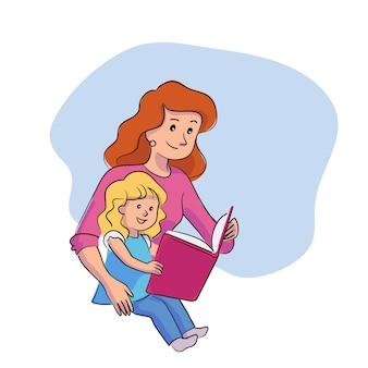 Mãe feliz lendo livro para filha