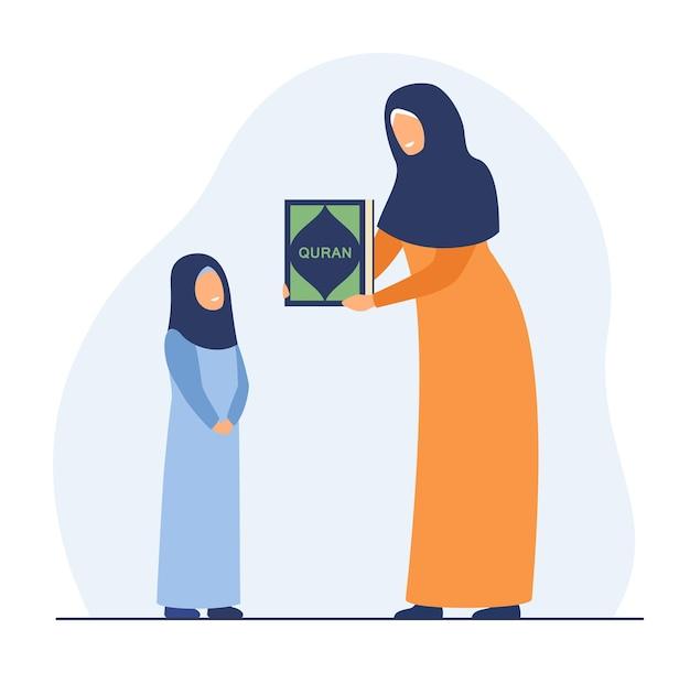 Mãe feliz mostrando o livro do alcorão para a filha