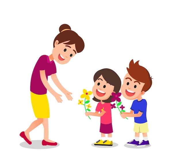 Mãe feliz recebendo flores de seus filhos