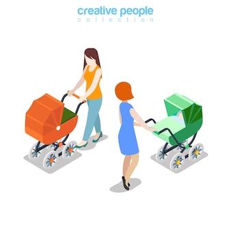 Mãe feminina passeando com o ícone do carrinho de bebê na web