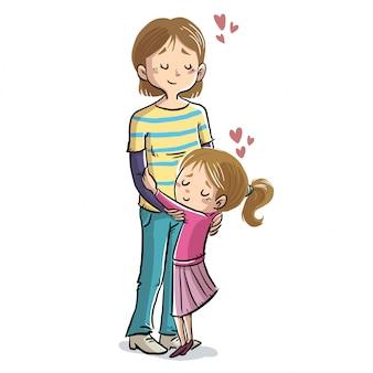 Mãe filha, abraçando, com, corações