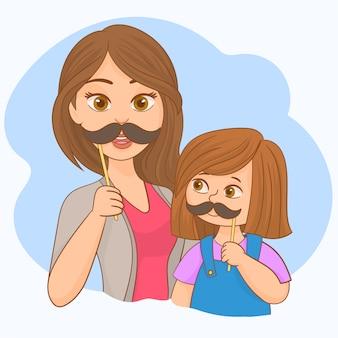 Mãe filha, com, bigode falso