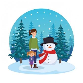 Mãe filha, com, boneco neve, em, snowscape