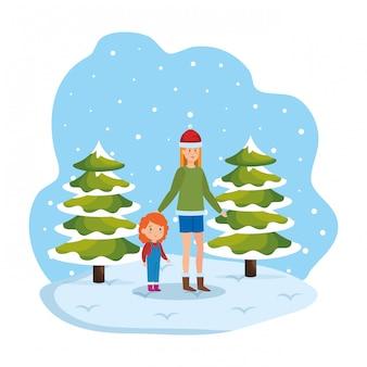 Mãe filha, com, roupas inverno, em, snowscape