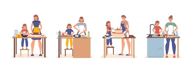Mãe filha família cozinhando em conjunto de cozinha em casa