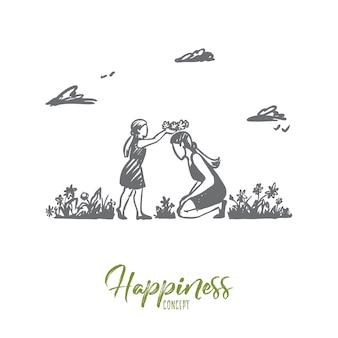 Mãe, filha, jardim, felicidade, conceito de família. mão desenhada mãe e filha brincando no jardim de verão. esboço do conceito de dia das mães.