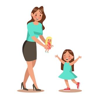 Mãe filha, jogo, boneca