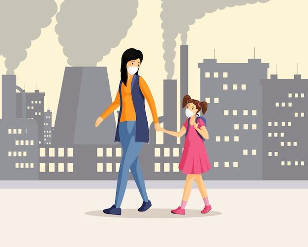 Mãe, filha na ilustração da cidade poluída. mulher e menina de mãos dadas e andando em personagens de desenhos animados do distrito industrial, inalando resíduos de gases tóxicos. pessoas usando respiradores