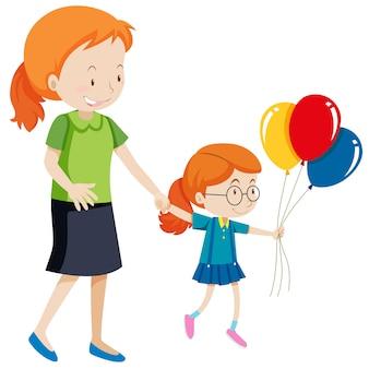 Mãe filha, segurando, balões