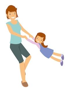 Mãe filha, tocando, divertimento, atividade