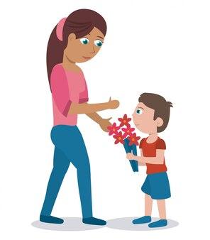 Mãe filho com flores de buquê adorável