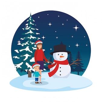 Mãe filho, com, natal, roupas, em, snowscape