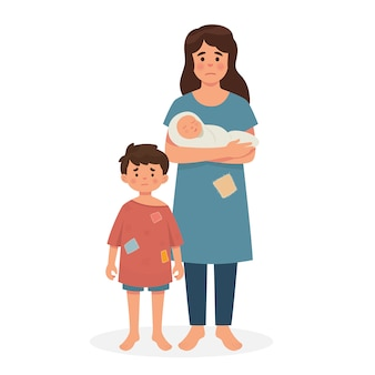 Mãe, filho e bebê em mau estado