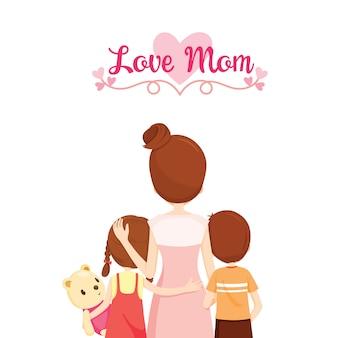 Mãe, filho e filha se abraçando, mamãe com amor, feliz dia das mães
