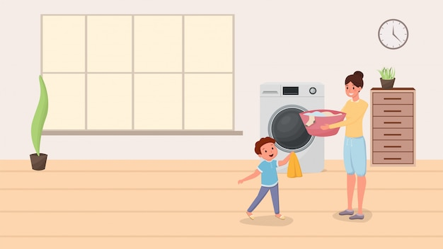 Mãe filho, lavando roupa