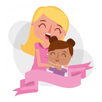 Mãe fofa abraçando uma filha feliz