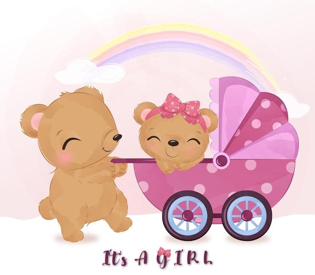 Mãe fofa e bebê urso brincando juntos na ilustração de aquarela
