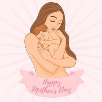 Mãe gentilmente abraçar seu filho