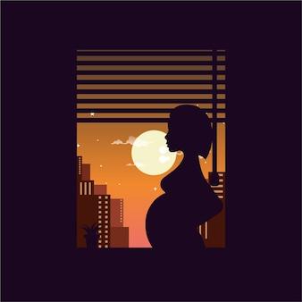 Mãe grávida na ilustração da janela