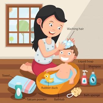 Mãe lavando o cabelo de seu filho com amor