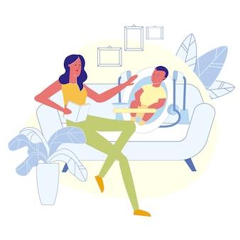 Mãe, leitura, bebê, história, apartamento, vetorial, ilustração