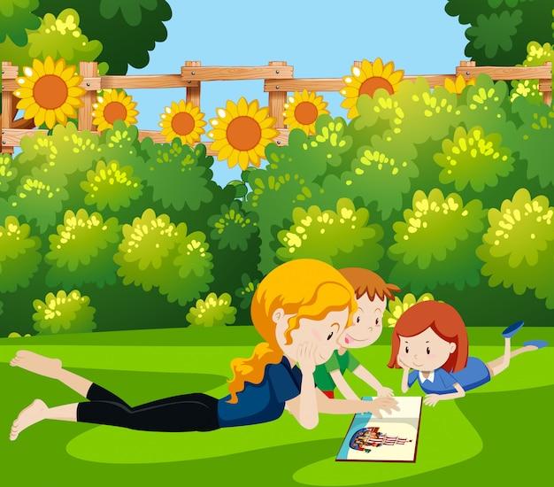 Mãe, leitura, livro, crianças