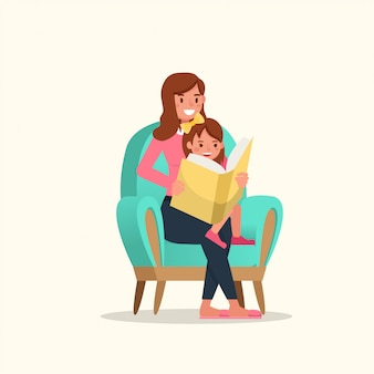 Mãe lendo livro com design de vetor de caracteres filha.