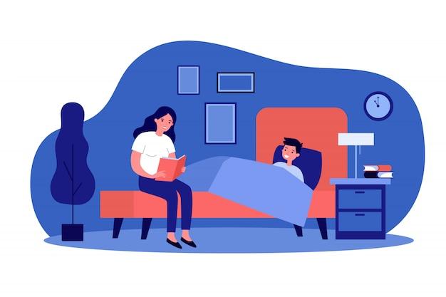 Mãe lendo livro de hora de dormir para o filho