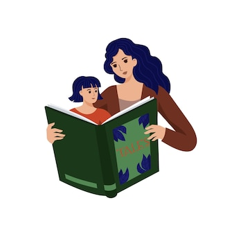 Mãe lendo livro para sua filha. ilustração em vetor fofa