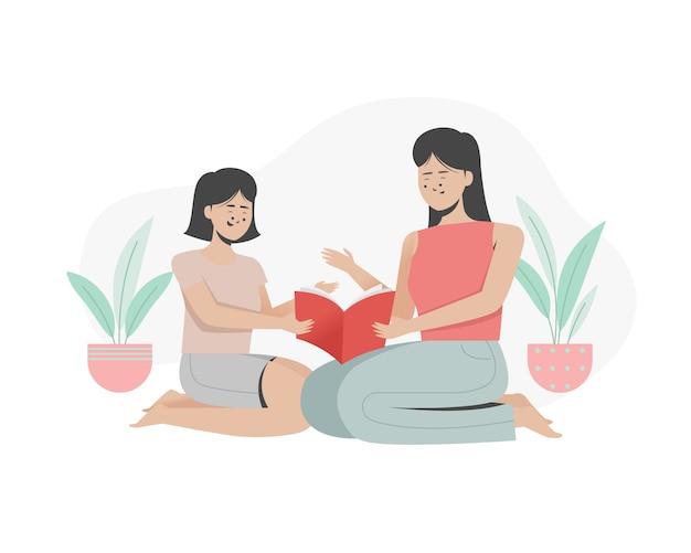 Mãe lendo um livro para a filha dela. internacional do dia das mães. ilustração plana.
