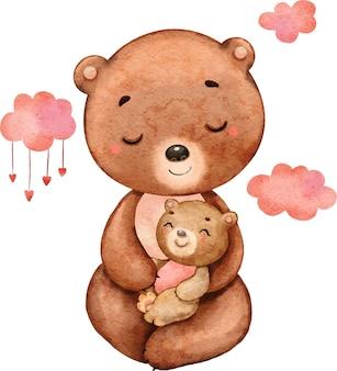 Mãe linda e fofa urso e bebê pintados em aquarela
