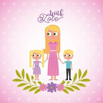 Mãe loira segurando seus filhos com cartão de amor decoração floral