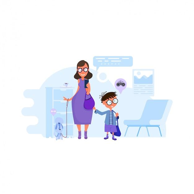 Mãe mãe escreve crianças para a escola, o principal aceita meninos, design plano.