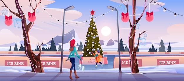Mãe menina na pista de gelo de natal com árvore do abeto