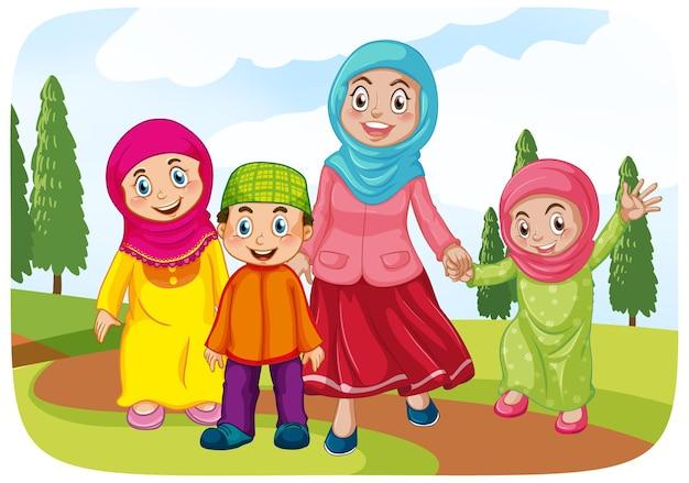 Mãe muçulmana com seus filhos