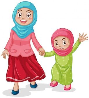 Mãe muçulmana com sua filha