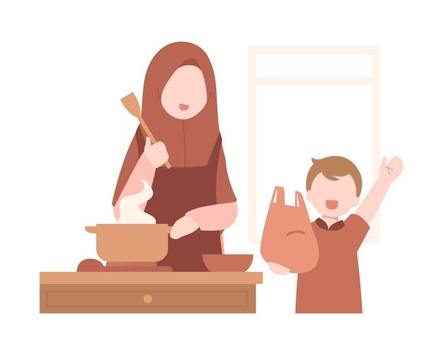 Mãe muçulmana cozinha na cozinha com seu filho
